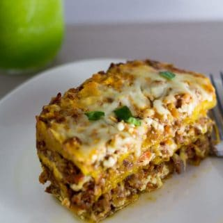 Plantain Lasagna, a sweet and savory version of lasagna, made with sweet plantains, beef, and cheese. | nashifood.com