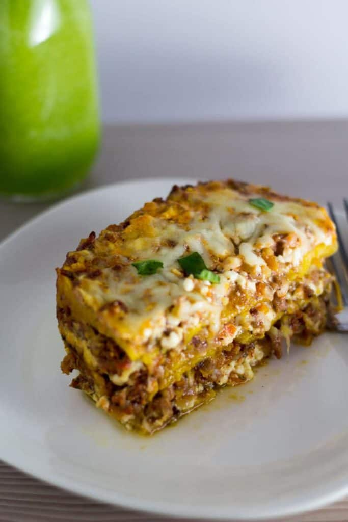 a plate with Plantain Lasagna.