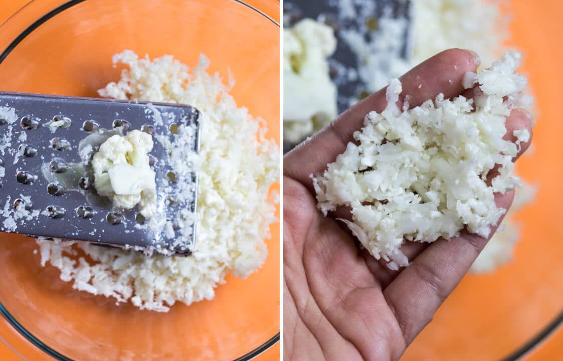 How to make cauliflower rice - Using a box grater.