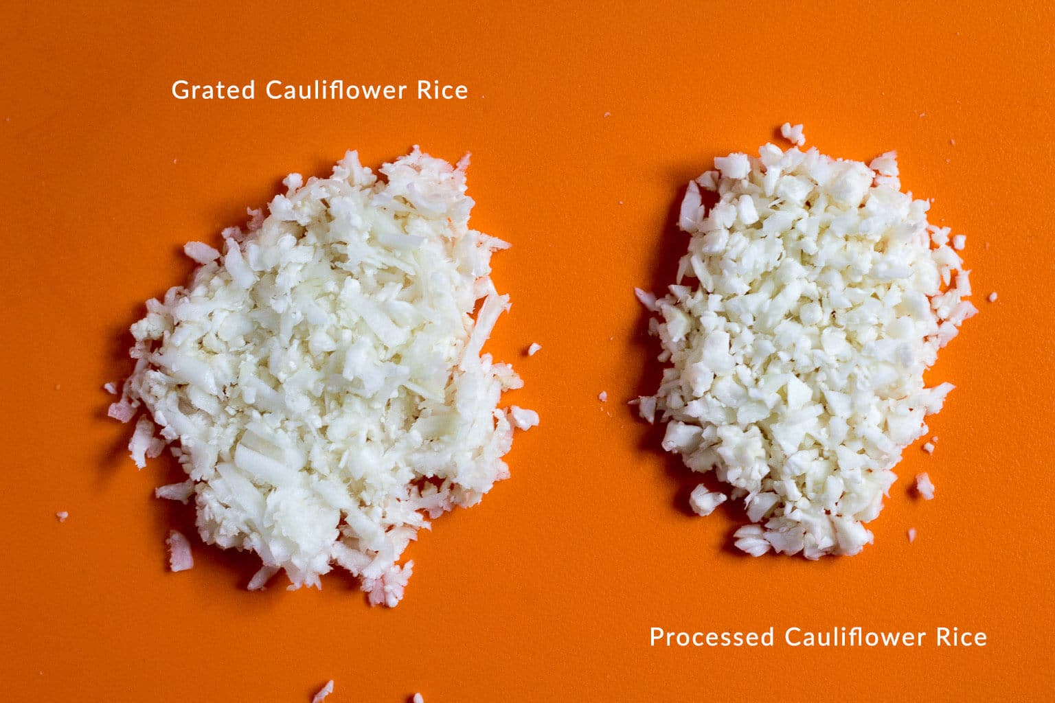 How to make cauliflower rice - difference between grating it and processing it.
