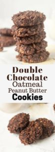 Double Chocolate Oatmeal Peanut Butter Cookies are chewy and made using only one bowl and 9 ingredients total | nashifood.com
