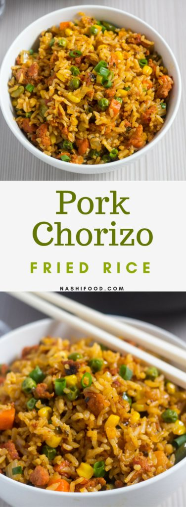 This Chorizo Fried Rice is just what you need for lunch or dinner, an explosion of flavors in your mouth and it just takes 30 minutes to make. | nashifood.com