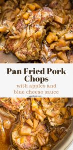 Pan Fried Pork Chops with apple and blue cheese sauce, served with caramelized onions, a perfectly balanced flavored meal #porkchop #recipe | nashifood.com