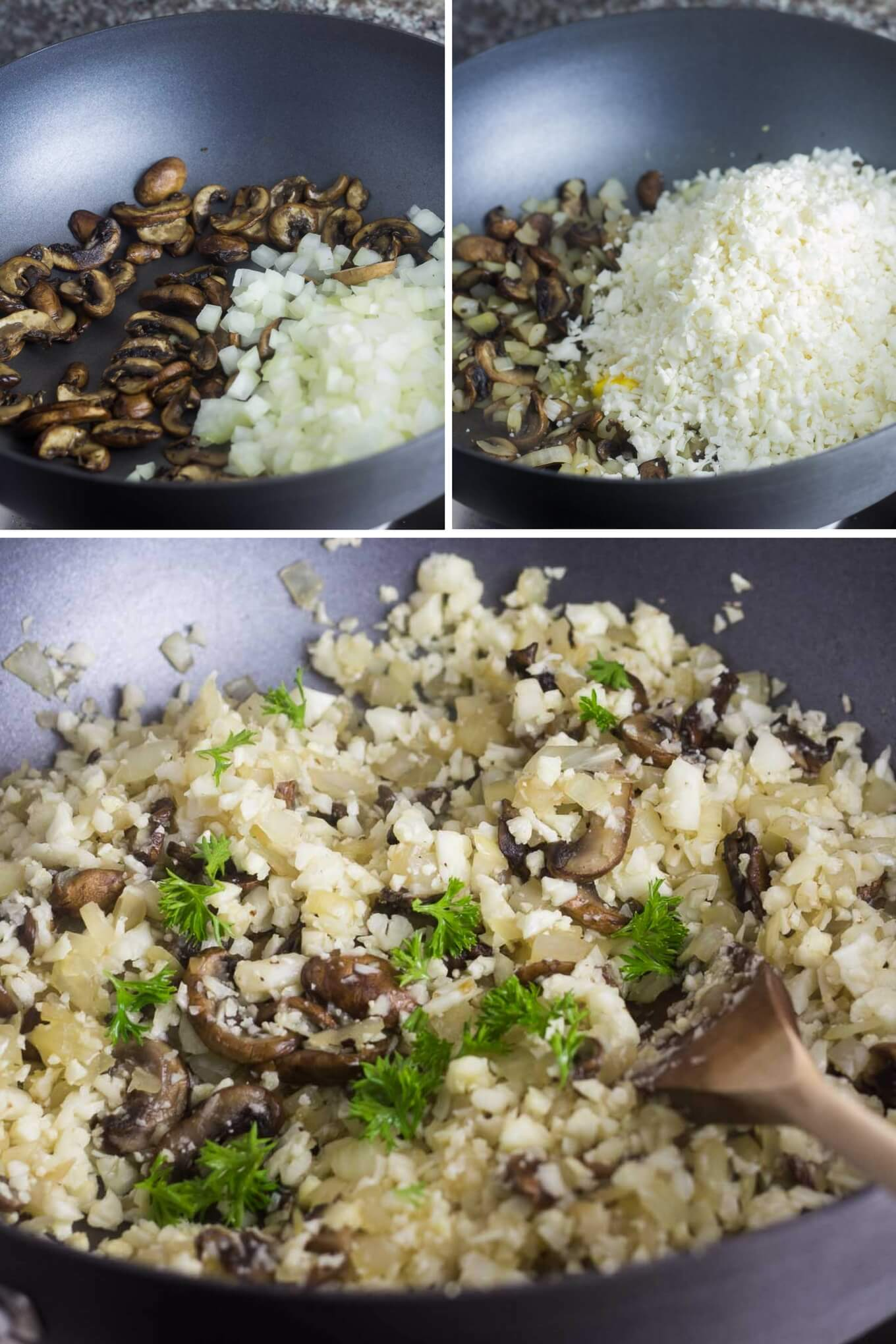 Mushroom Cauliflower Rice - Cooking Steps | nashifood.com
