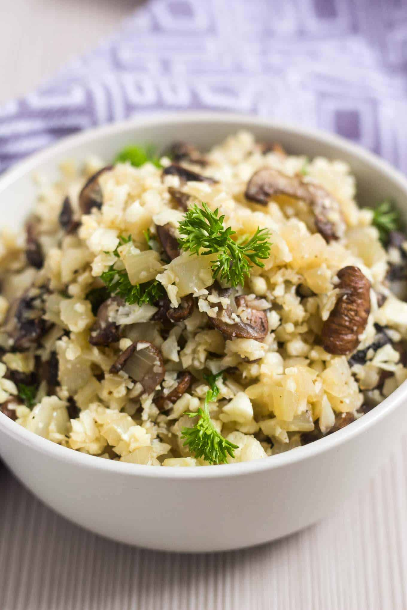 A bowl filled with mushroom cauliflower rice