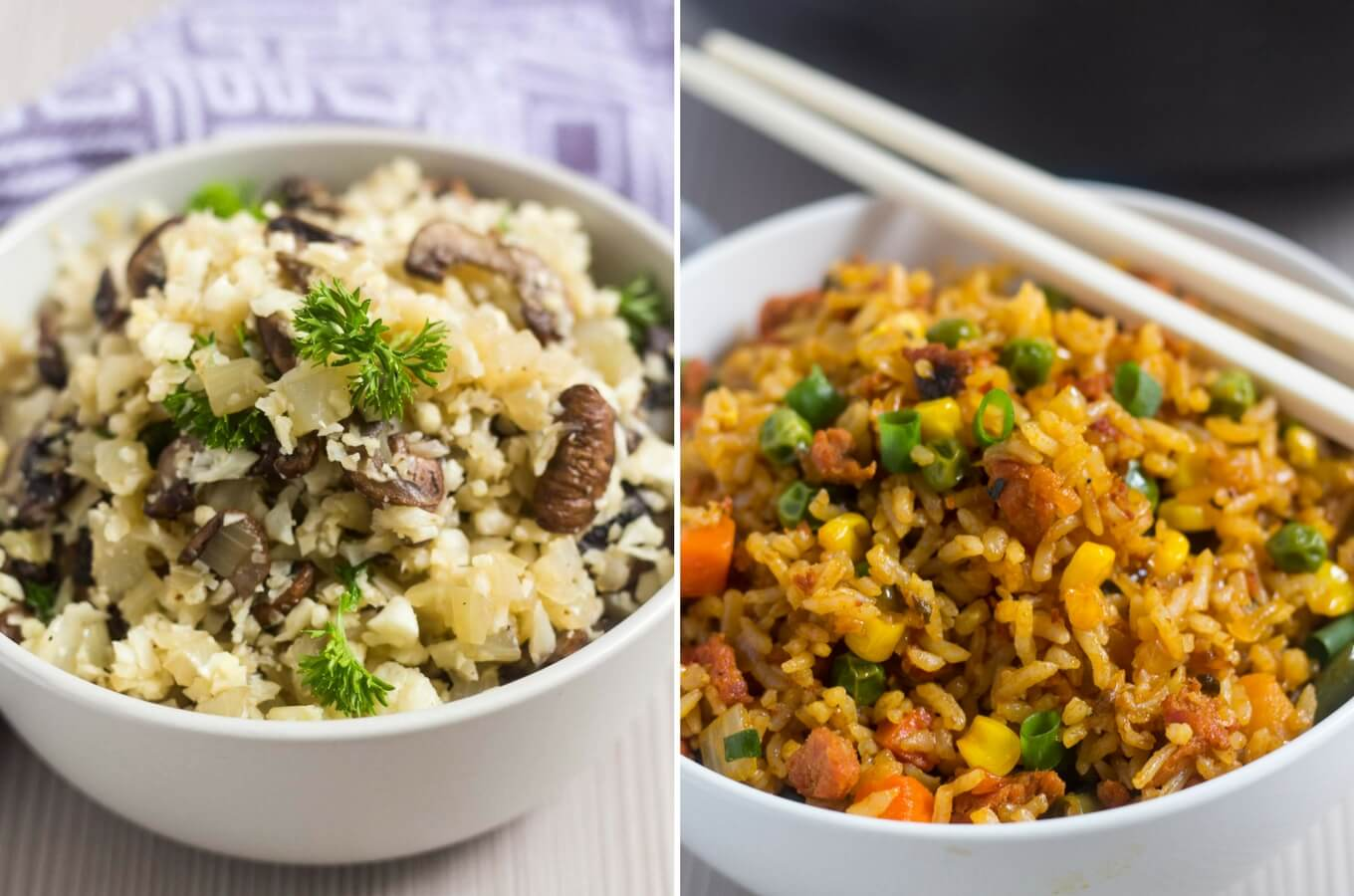 photo of mushroom cauliflower rice and pork chorizo fried rice side by side