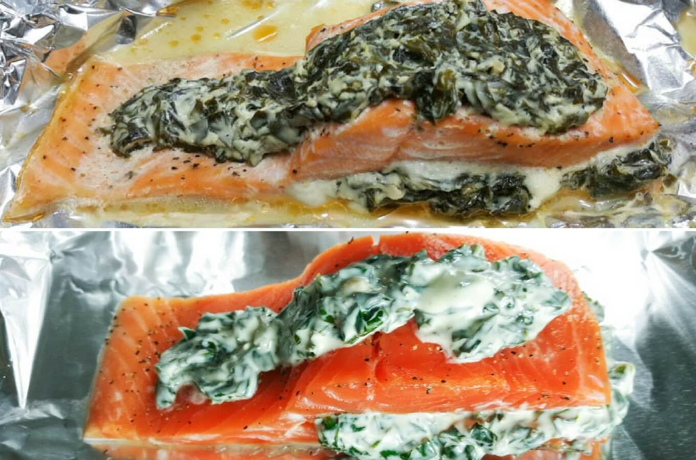 top photo: stuffed salmon with cream cheese cooked, bottom photo: stuffed salmon with cream cheese raw
