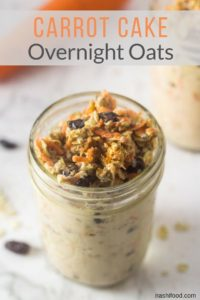 a mason jar with carrot cake overnight oats in it.