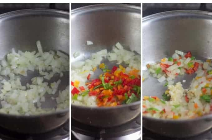 saucepan with onion, saucepan with onion + sweet peppers and culantro leaves , saucepan with + garlic