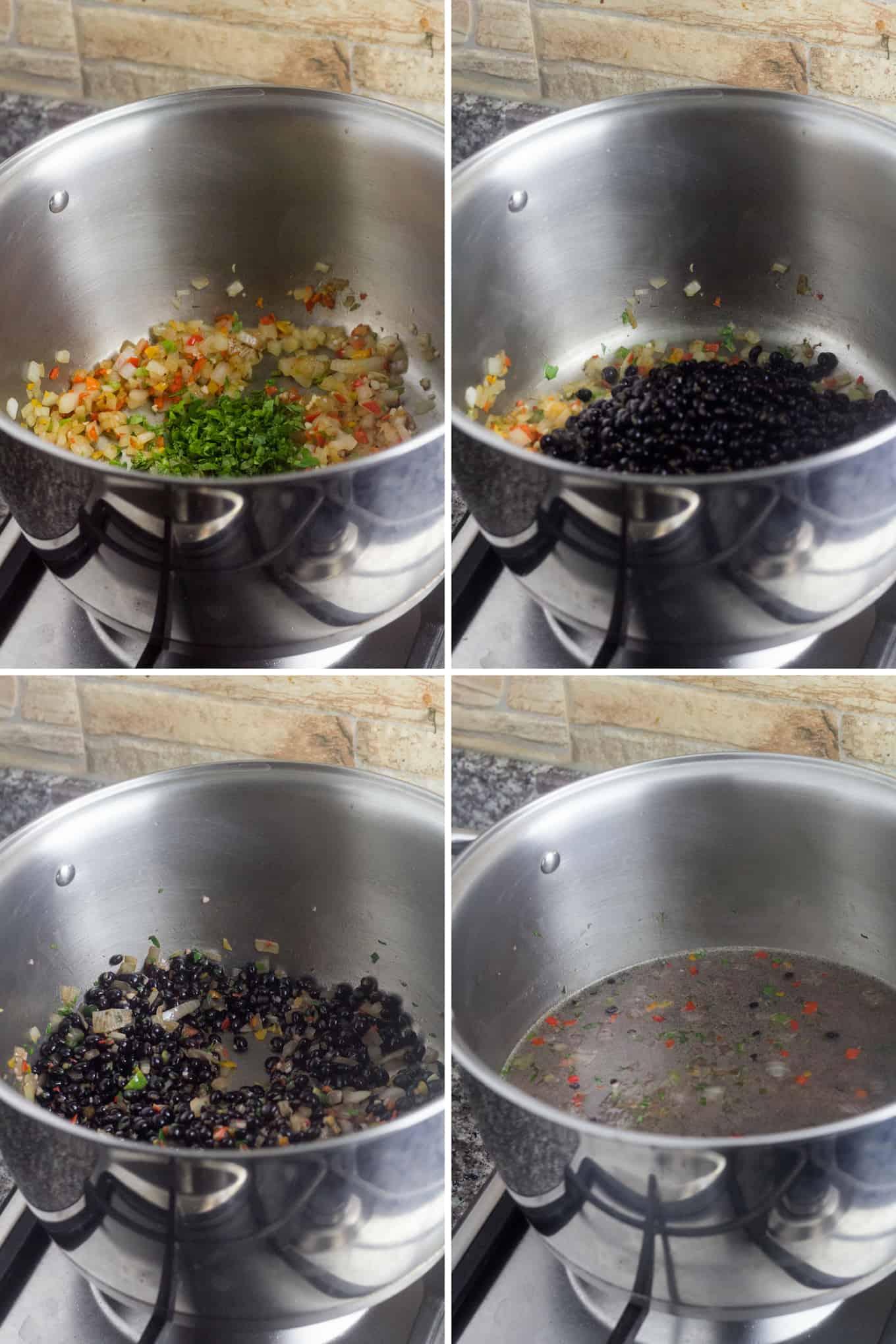 cuatro images de ollas: la primera de arriba tiene sofrito, la segundo de arriba tiene guandú y el sofrito, la primera de abajo tiene todo mezclado y la última de abajo tiene agua adicional.