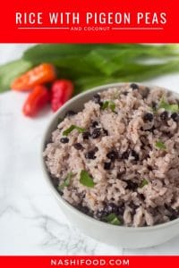 rice with pigeon peas and coconut served in a bowl