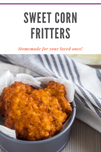 Sweet corn fritters in a dish