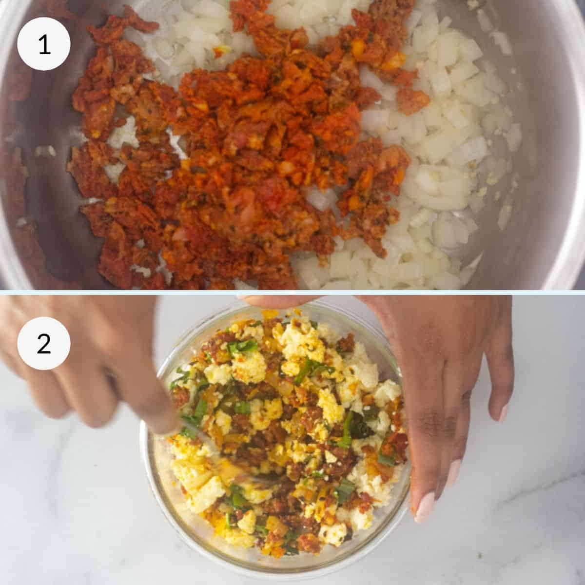 cooking the stuffing and mixing with cheese in a bowl.