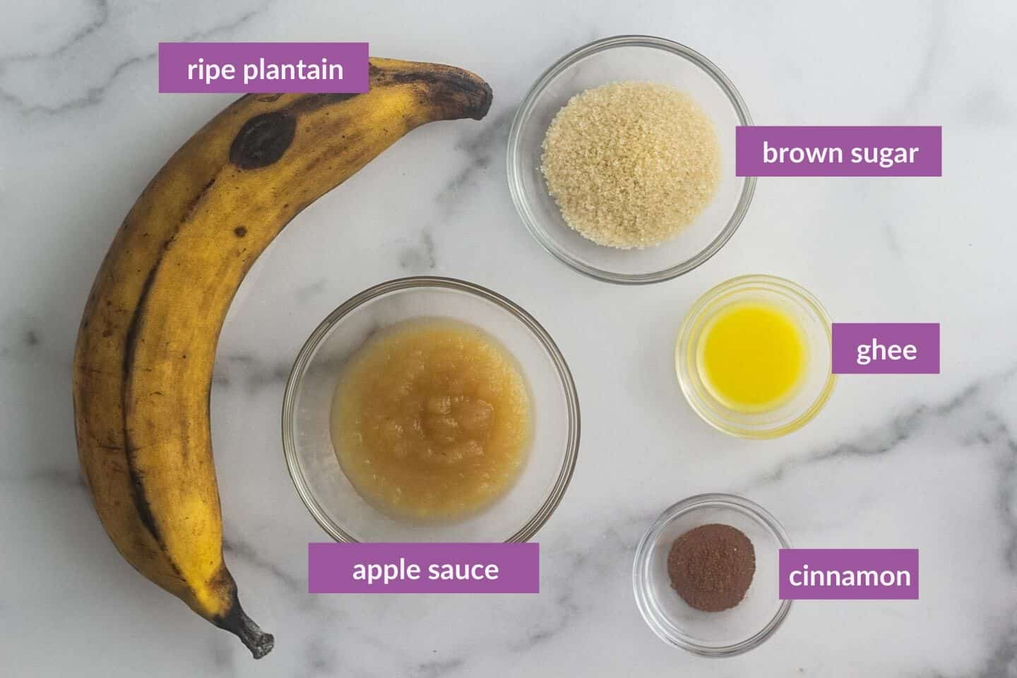 caramelized plantain ingredients