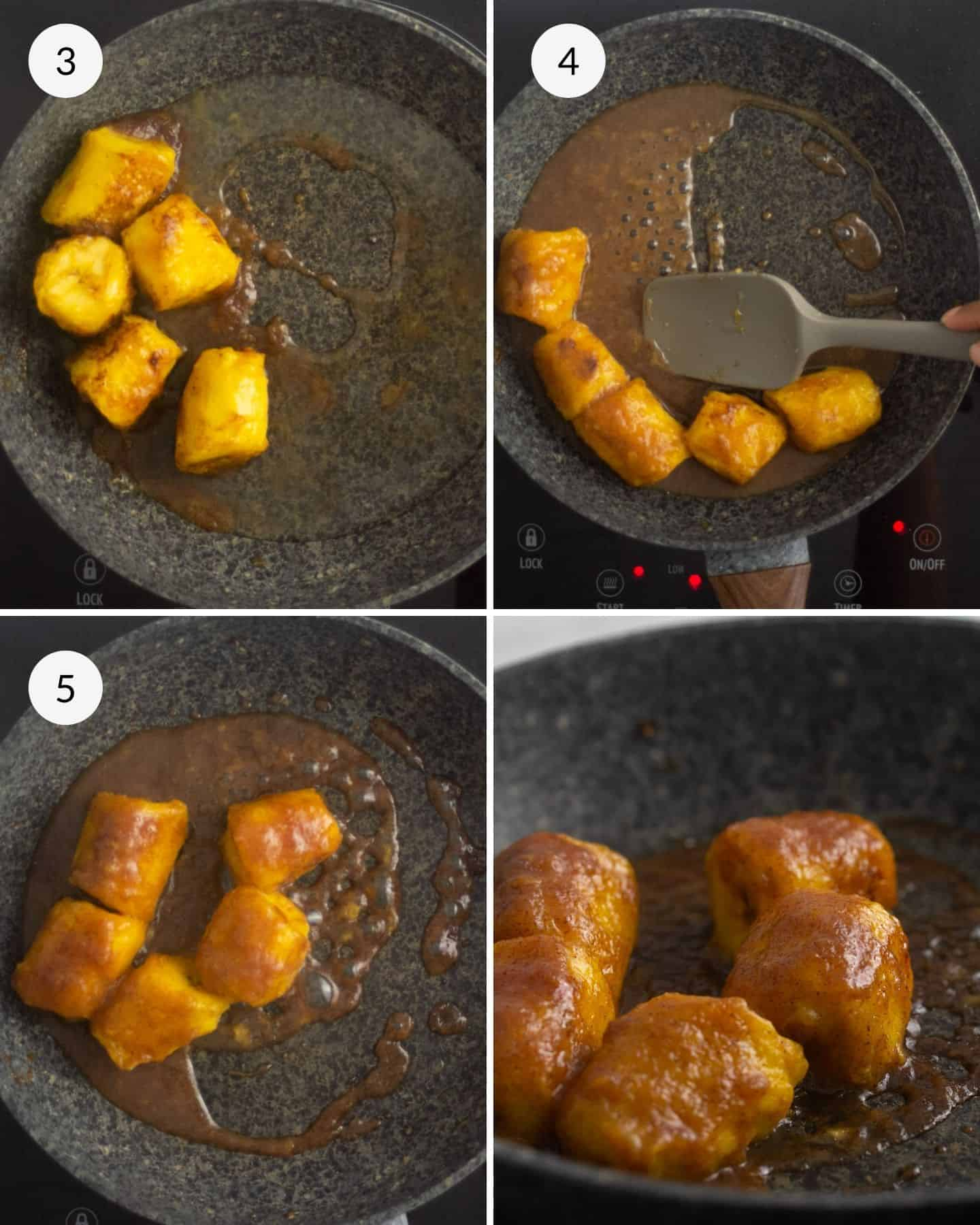 plantain cooking in a frying pan