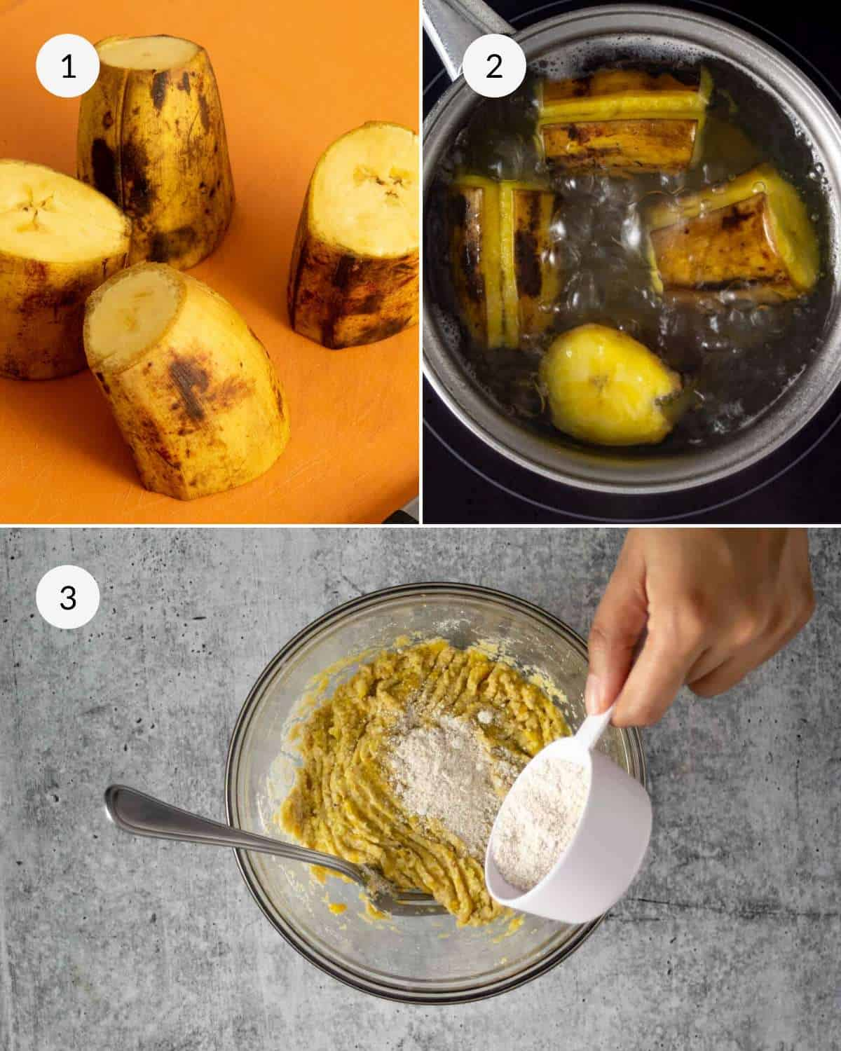Step by step photos showing how to cut and boil the plantains and then next mix the dough