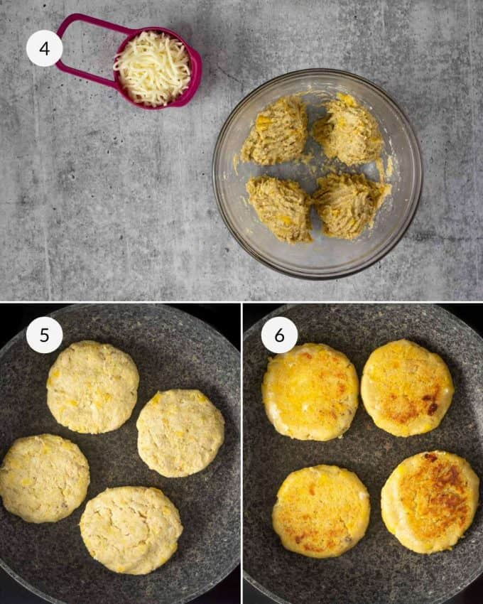 Step by step photos showing how to cook the plantain arepas